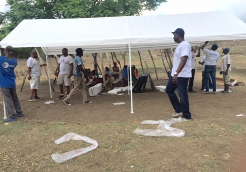 Construction of tents for a temporary school in Haiti